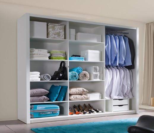 Voorraad moderne kledingkast met spiegel 250 cm wit of eiken kasten en dressoirs - Moderne kledingkast ...