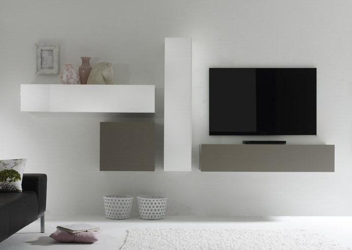 Actie modern zwevend tv wandmeubel hoogglans wit mat taupe nieuw
