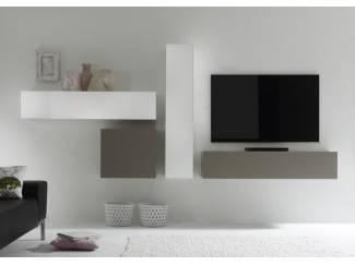 ACTIE Modern zwevend tv-wandmeubel hoogglans wit mat taupe NIEUW
