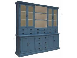 Blauwe apothekerskast 18 laden 250 x 220cm