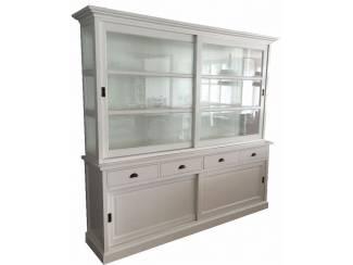 Buffetkast Olst wit 235 x 220cm zijkanten glas