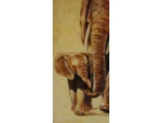 Olifant met Jong Olifanten Schilderij