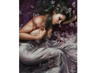 Gothic Poster Vrouw Vampier Bloemen, Flowers, Woman
