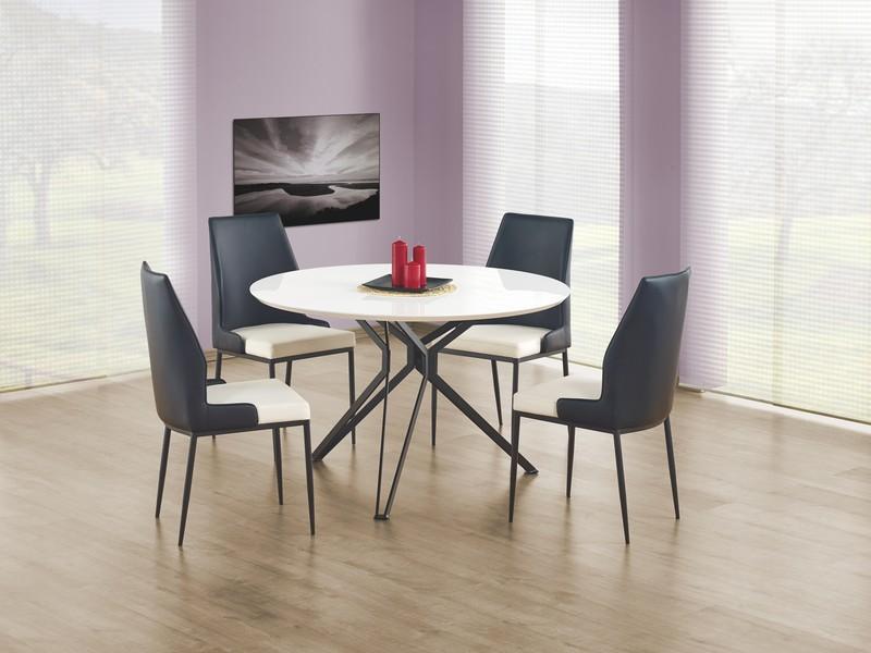 Moderne hoogglans witte ronde eettafel pixel nieuw tafels