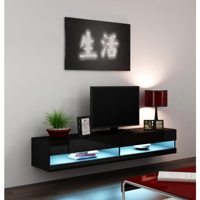 Glazen Tv Meubel Met Verlichting.Voorraad Modern Zwevend Tv Meubel Met Led Verlichting Nieuw