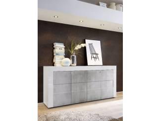 Modern hoogglans wit of betonlook dressoir Easy NU 349 NIEUW