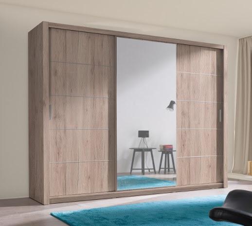 Beste Moderne kledingkast met spiegel 250cm eiken of wit NU 499 NIEUW SI-23