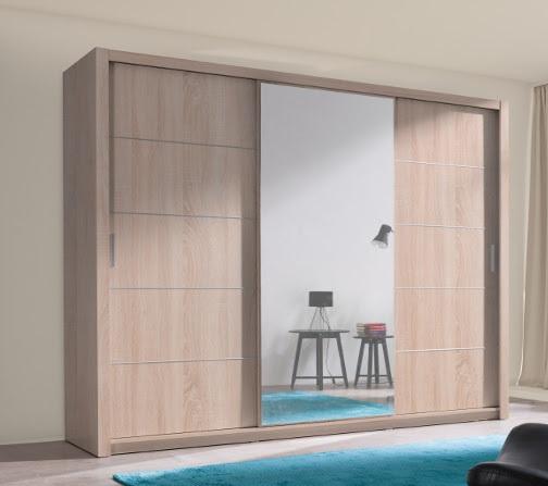 Moderne kledingkast met spiegel 250cm eiken of wit nu 499 nieuw kasten en dressoirs - Moderne kledingkast ...