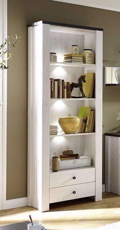 Moderne boekenkast wandkast met LED verlichting wit antraciet ...