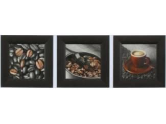 Drieluik Schilderij Gebaseerd op Koffie