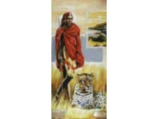 Afrika Schilderij Afrikaanse Man Panter Leeuw
