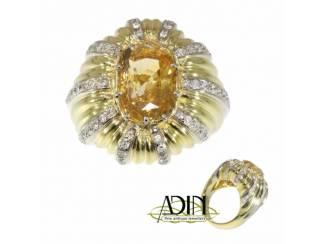 Vintage gouden cocktail ring met gele saffier
