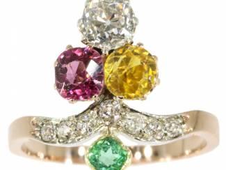 Suffragette ring met diamant en prachtige stenen