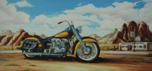 Gele Harley Davidson Motor Motoren Route 66 Schilderij