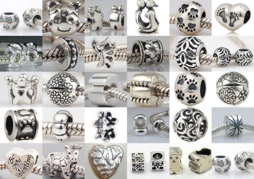 Vanaf Euro 2,95 bedels echt zilver voor Pandora, Trollbeads, etc.