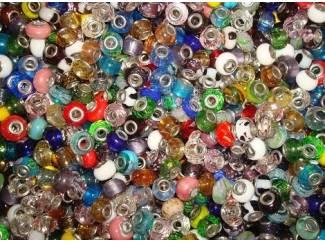 100 glasbedels voor Pandora, Trolbeads, Tedora, Larenza, etc.