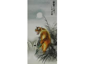 Schilderij Tijger Tijgers met Chinese Tekens
