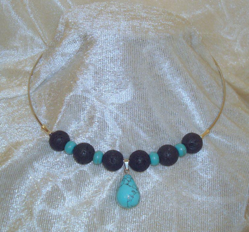 Collier met lava en turquoise natuursteen