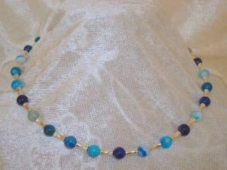 Kettingen Collier van Blue Stripe agaat