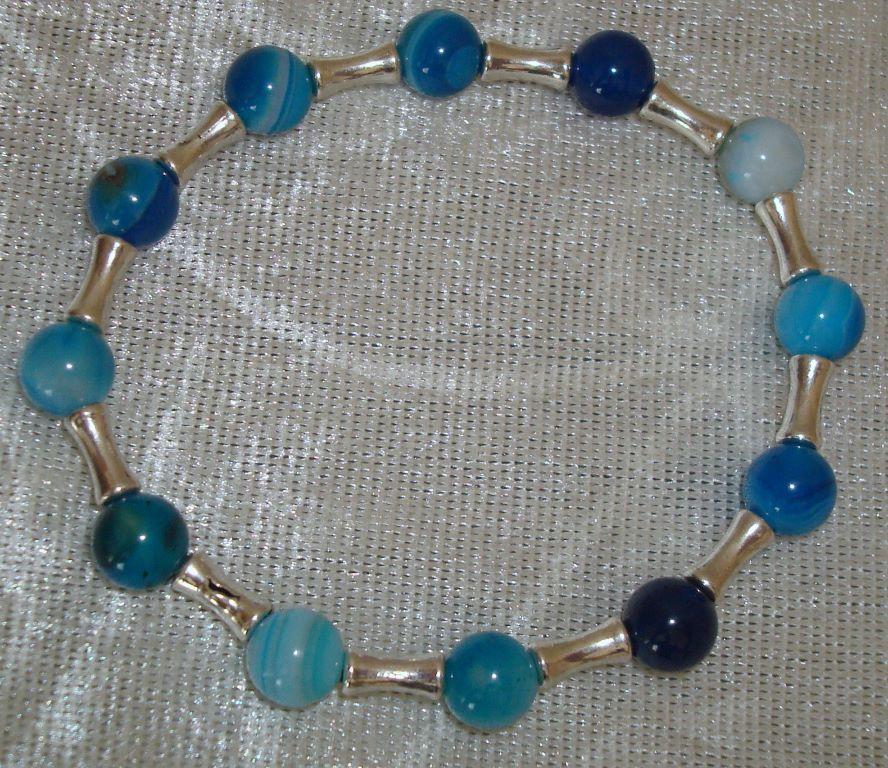 Armband van Blue Stripe agaat, maat naar wens