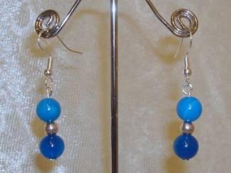 Sterling silverplated oorbellen met Blue Stripe agaat