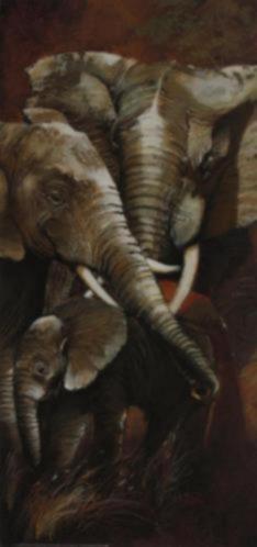 Schilderij Olifant met Jong Tweeluik Olifanten A