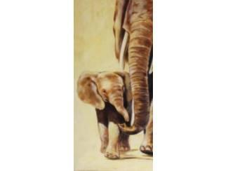 Accessoires en Decoratie Schilderij Olifant met Jong Tweeluik Olifanten A