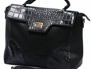 Zwarte handtas met lak elementen van brakelenzo nu voor 24,99PU L