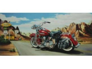 Schilderij Route 66 Rode Harley Davidson Motor Motoren (A1)