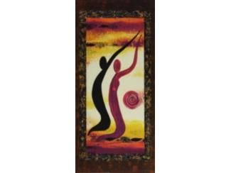 Schilderij Afrikaanse dansende vrouwen, Drieluik
