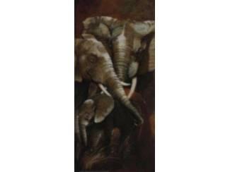 Schilderij Tweeluik Olifant met Jong  Olifanten A