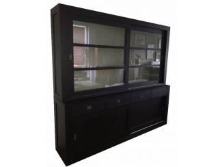 Zwarte moderne buffetkast binnenkant grijs 240 x 220cm