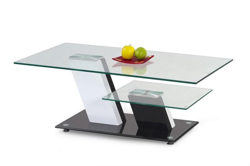 Glazen Moderne Salontafel.Moderne Salontafel Hoogglans Zwart Wit Met Glazen Bladen Nieuw Tafels