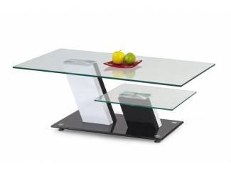 Moderne salontafel hoogglans zwart wit met glazen bladen NIEUW
