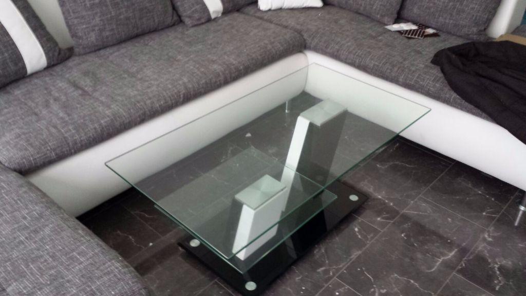 Salontafel Glas Wit.Moderne Salontafel Hoogglans Zwart Wit Met Glazen Bladen