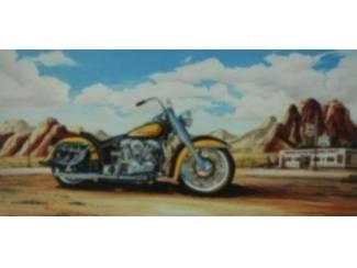 Schilderij Route 66 Gele Harley Davidson Motor Motoren