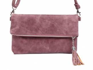 Roze clutch schoudertasje met sierkwast