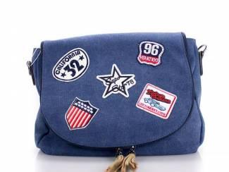 toere canvas schouder-/handtas met opgestikte patches