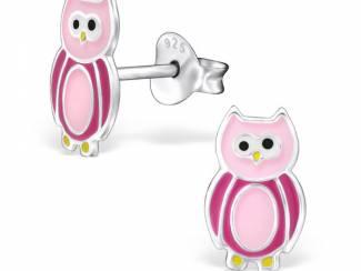 Zilveren kinderoorbellen roze ui,