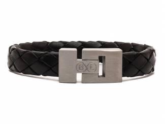 Handgemaakte leren armband in zwart