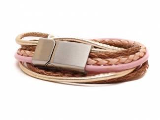 Handgemaakte leren armband in metallic