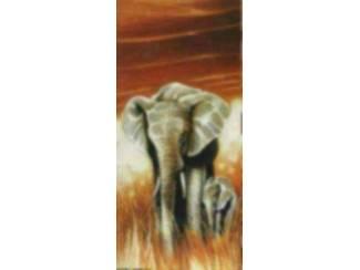 Safari Schilderij Sahara Olifant met Jong Olifanten