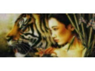 Schilderij Vrouw met Zwarte Panter (Cc)