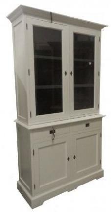 Witte vitrinekast 120cm breed grijze binnenkant incl bezorgen