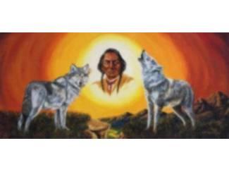 Indiaan met Wolven Indianen Wolf Schilderij
