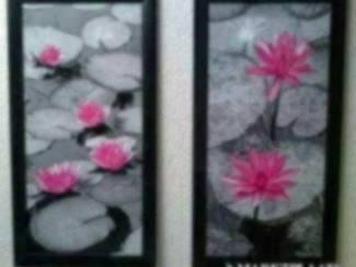 Schilderij 2 Luik Waterlelie Lelie Bloemen Grijs Roze Glossy