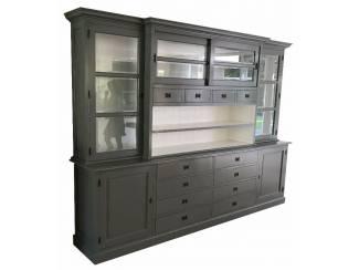 Grote landelijke grijze buffetkast 300 x 225cm