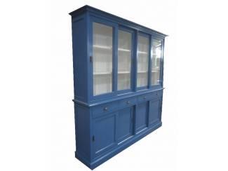 Blauwe buffetkast schuifdeuren en lade 220 x 220cm