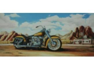 Route 66 Schilderij Gele Harley Davidson Motor Motoren