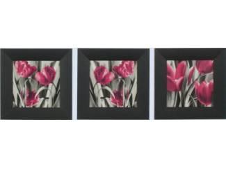 Schilderij Tulpen Grijs Roze Tulp Bloem Bloemen 3 Luik